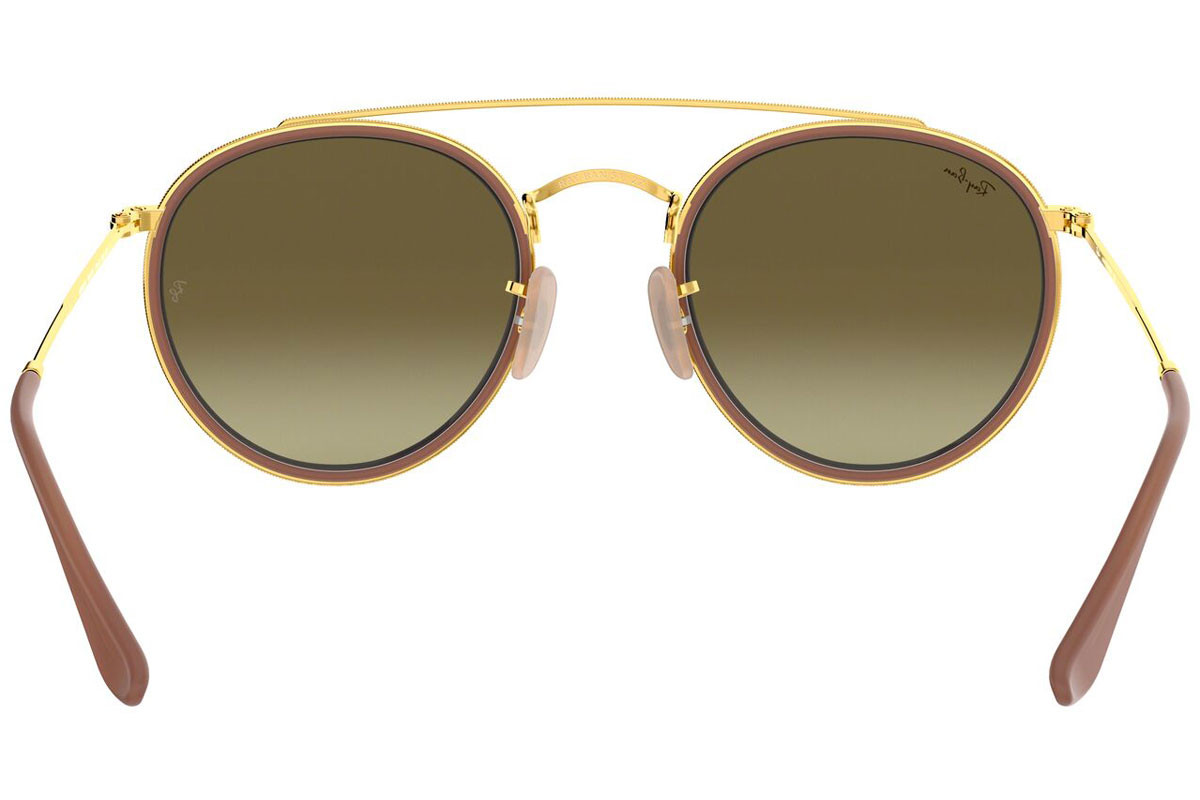 Ray-Ban Round Double Bridge RB3647N 001/7O. Frame color: Кафява, Lens color: Розова, Frame shape: Заоблени