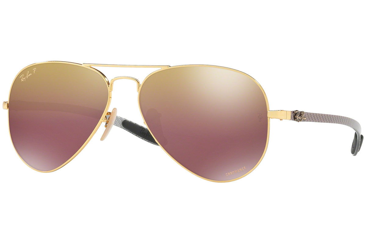 Ray-Ban Chromance Collection RB8317CH 001/6B Polarized. Frame color: Gold, Lens color: Purple, Frame shape: Pilot