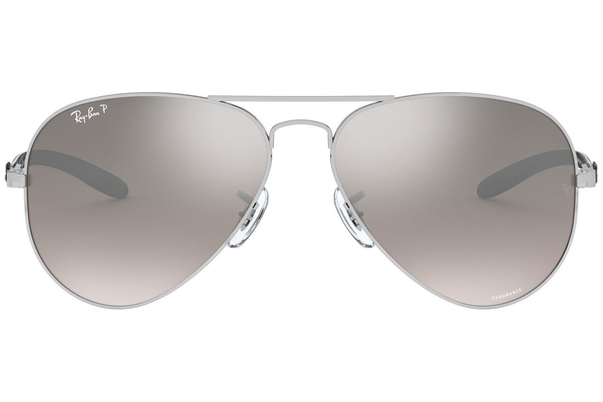 Ray-Ban Chromance Collection RB8317CH 003/5J Polarized. Frame color: Silver, Lens color: Grey, Frame shape: Pilot