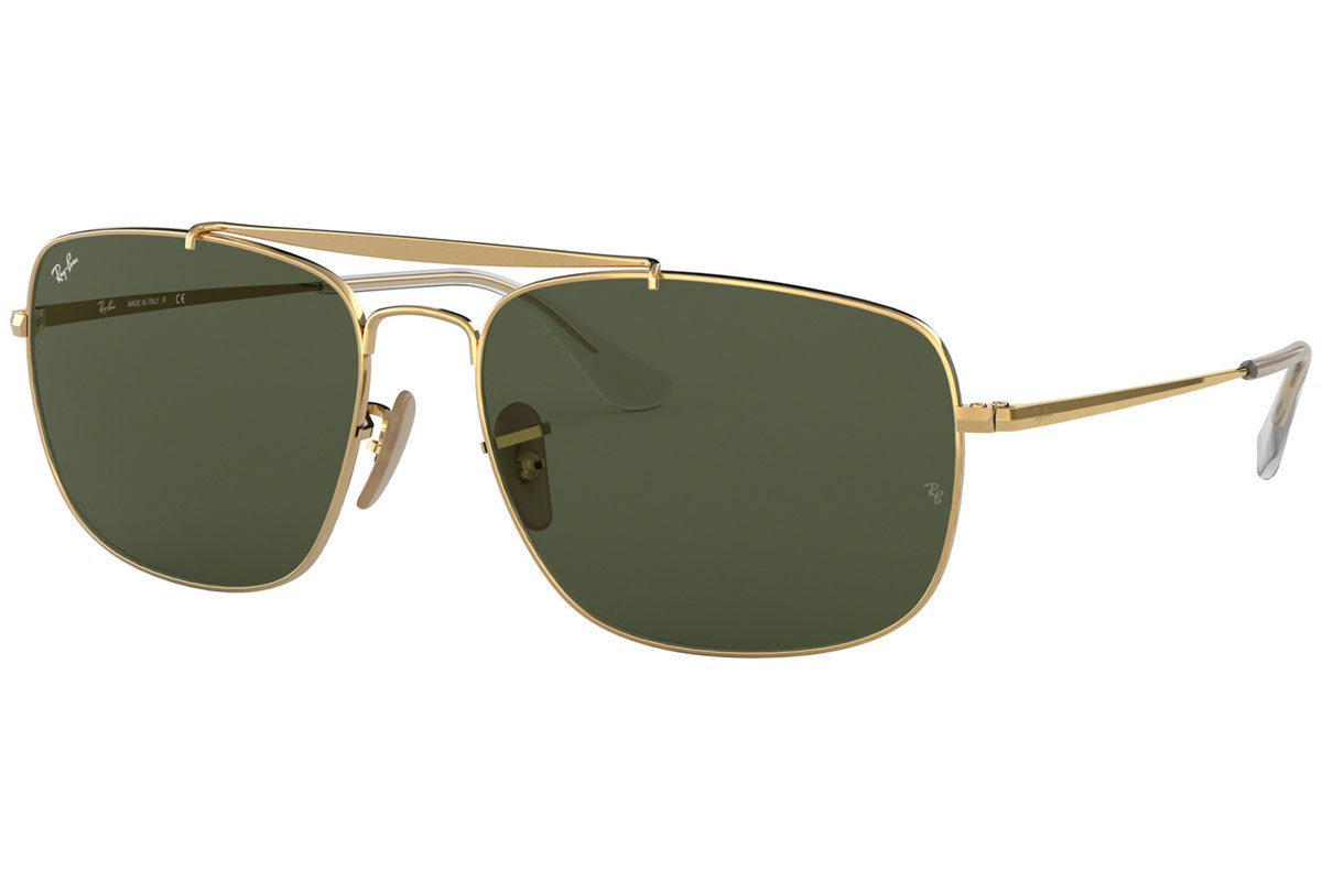 Ray-Ban Colonel RB3560 001. Frame color: Gold, Lens color: Green, Frame shape: Squared
