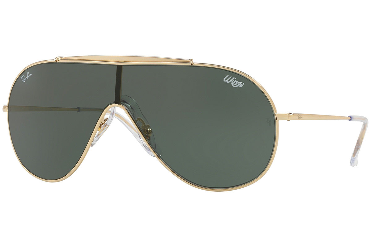 Ray-Ban Wings RB3597 905071. Frame color: Gold, Lens color: Grün, Frame shape: Monoscheibe