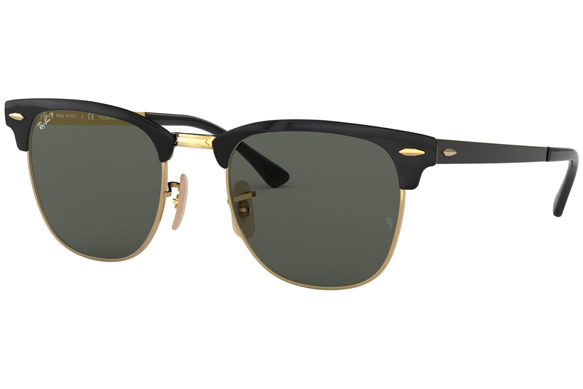 Ray-Ban Clubmaster Metal RB3716 187/58 Polarized. Frame color: Black, Lens color: Grey, Frame shape: Browline