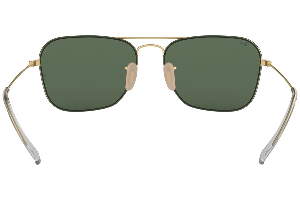 Ray-Ban RB3603 001/71. Frame color: Gold, Lens color: Green, Frame shape: Pilot