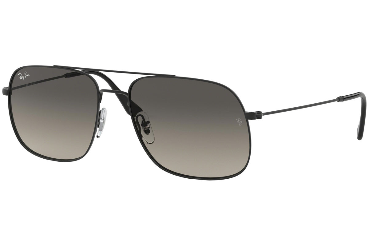 Ray-Ban RB3595 901411. Frame color: Crni, Lens color: Sivi, Frame shape: Pilotski