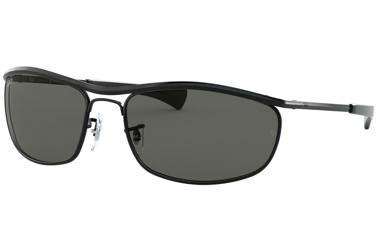 Ray-Ban Olympian I Deluxe RB3119M 002/58 Polarized. Frame color: Schwarz, Lens color: Grün, Frame shape: Rechteck