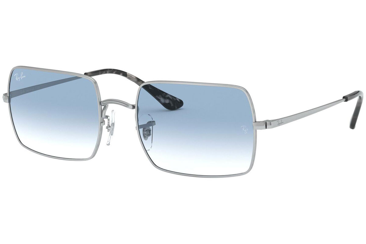 Ray-Ban Rectangle RB1969 91493F. Frame color: Silber, Lens color: Blau, Frame shape: Quadratisch