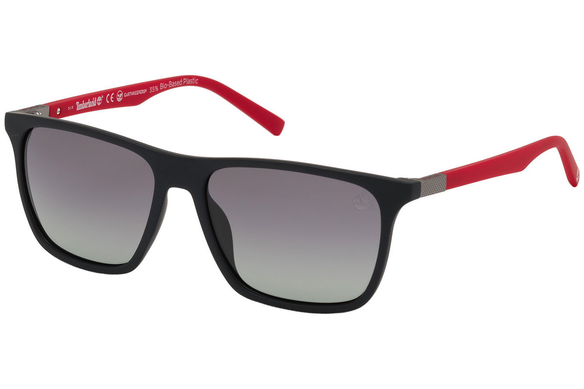 Timberland TB9198 02D Polarized. Frame color: Schwarz, Lens color: Grau, Frame shape: Quadratisch