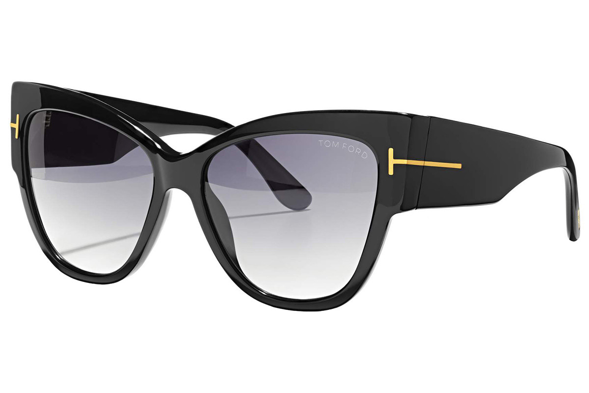 Tom Ford Anoushka FT0371 01B. Frame color: Crni, Lens color: Sivi, Frame shape: Cat Eye