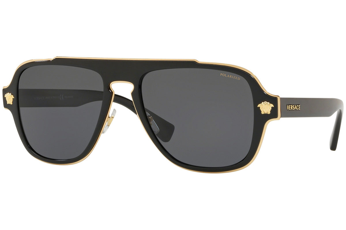 Versace VE2199 100281 Polarized. Frame color: Black, Lens color: Grey, Frame shape: Pilot