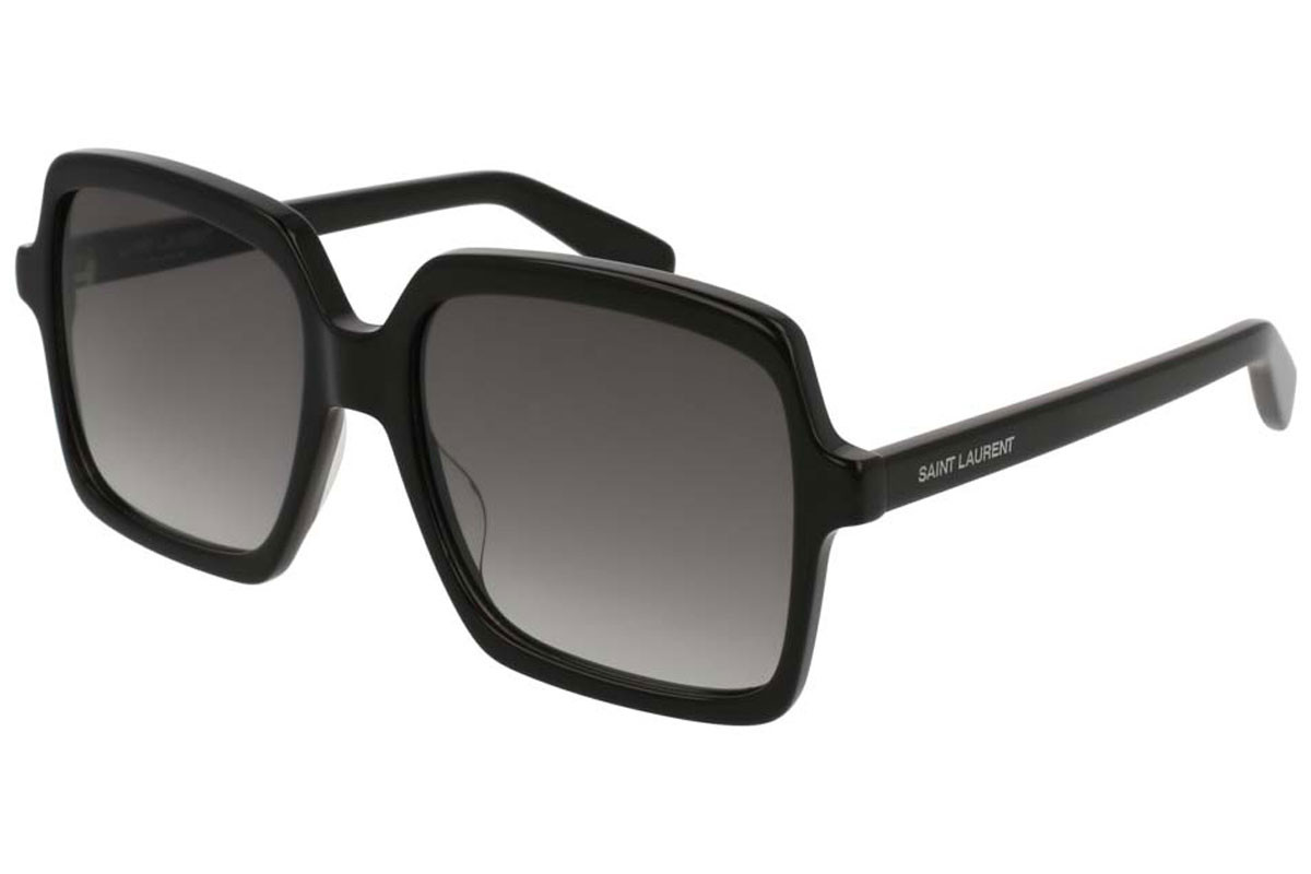 Yves Saint Laurent SL174 001. Frame color: Črna, Lens color: Siva, Frame shape: Oversize